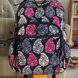 💕 Vera Bradley black pink large laptop backpack